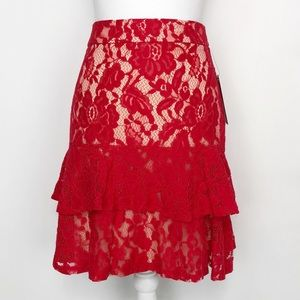 NWT Lulus Eternal Romance Red Lace Mini Skirt
